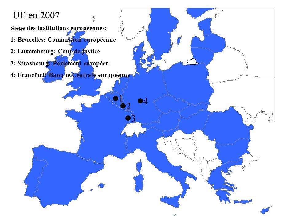 UE en 2007 1 4 2 3 Siège des institutions européennes: