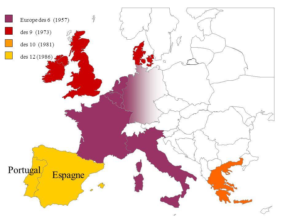 Portugal Espagne Europe des 6 (1957) des 9 (1973) des 10 (1981)