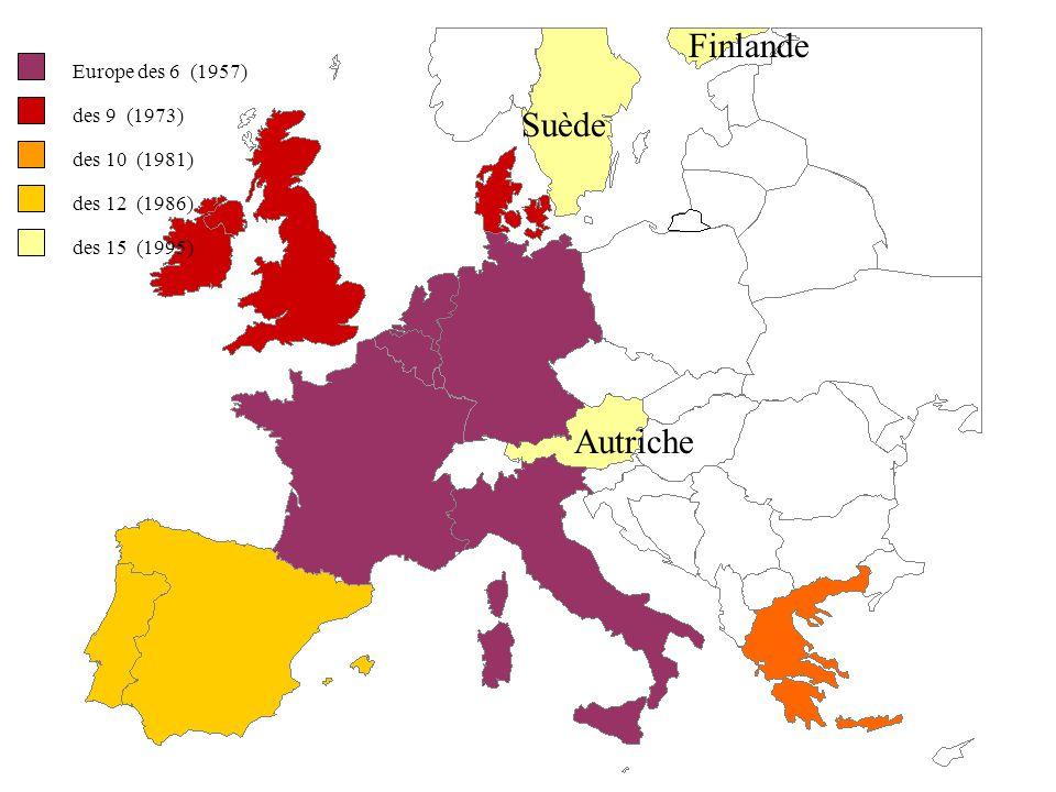 Finlande Suède Autriche Europe des 6 (1957) des 9 (1973) des 10 (1981)