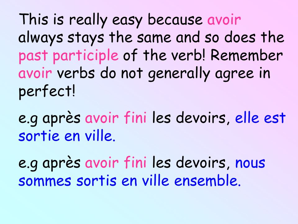 This is really easy because avoir always stays the same and so does the past participle of the verb! Remember avoir verbs do not generally agree in perfect!