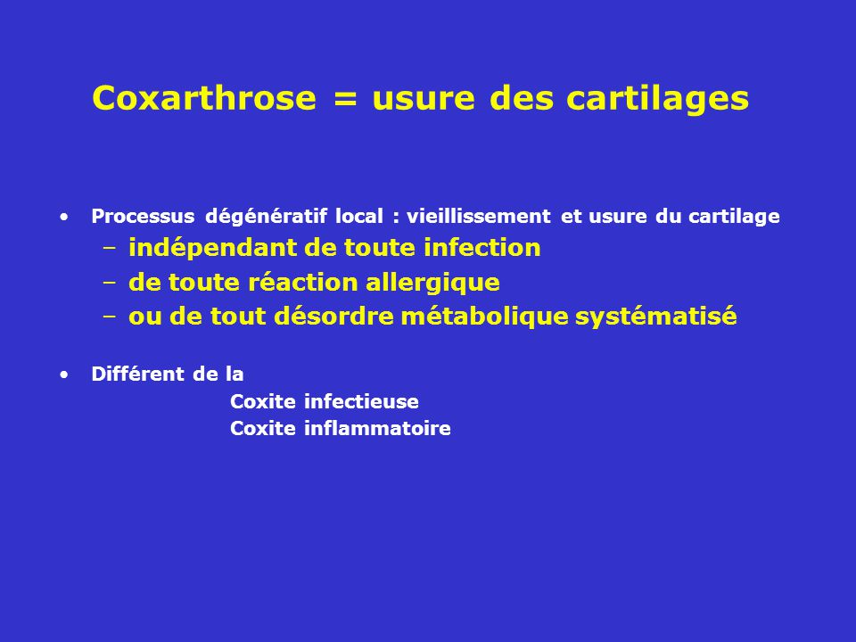 Coxarthrose = usure des cartilages