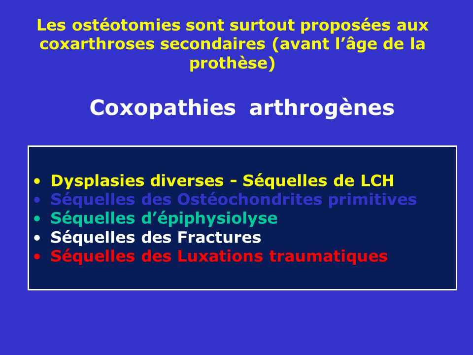 Coxopathies arthrogènes