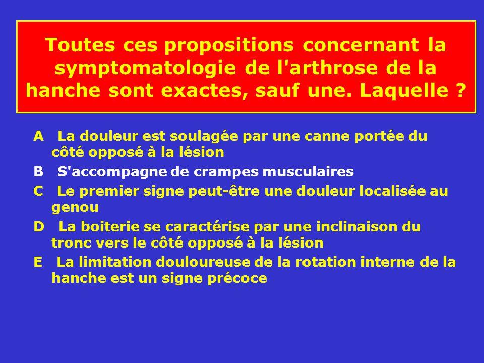 Toutes ces propositions concernant la symptomatologie de l arthrose de la hanche sont exactes, sauf une. Laquelle