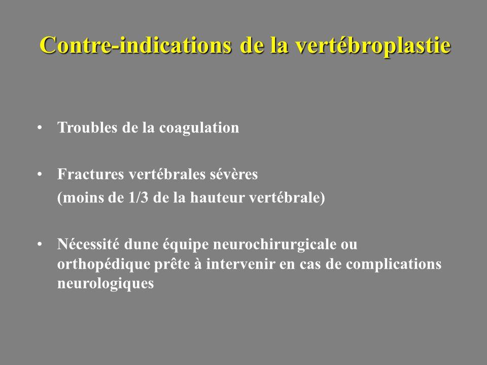 Contre-indications de la vertébroplastie