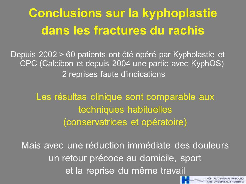 Conclusions sur la kyphoplastie dans les fractures du rachis