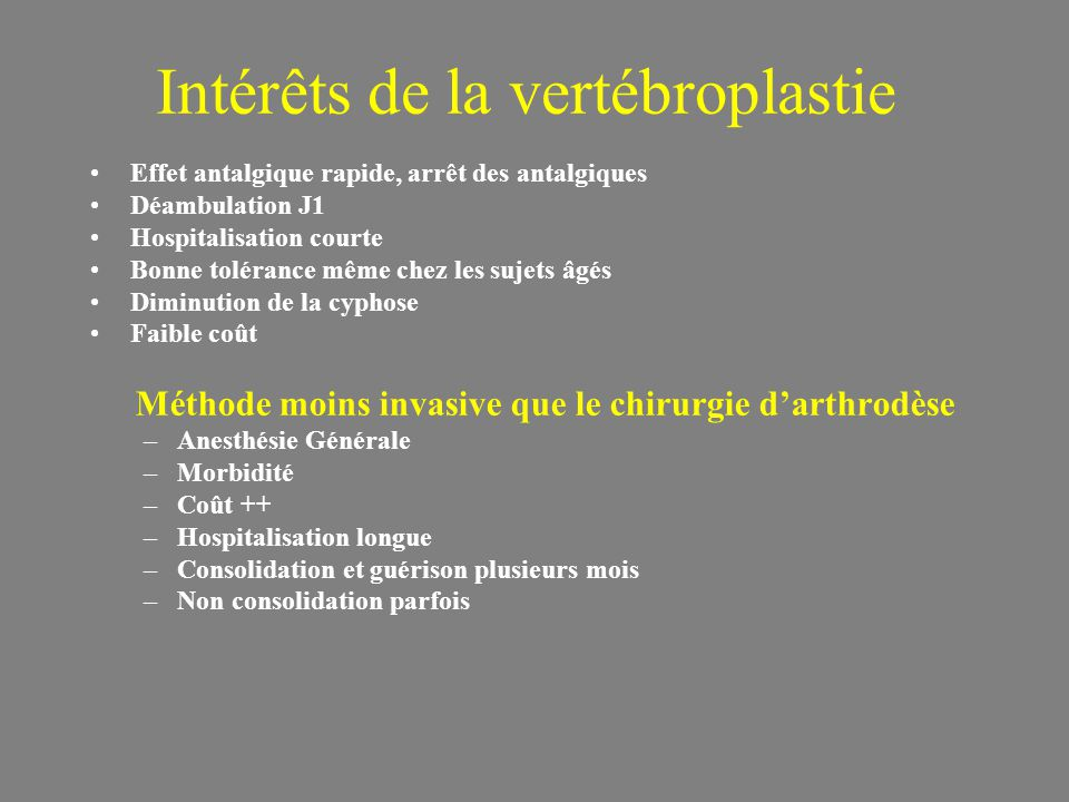 Intérêts de la vertébroplastie