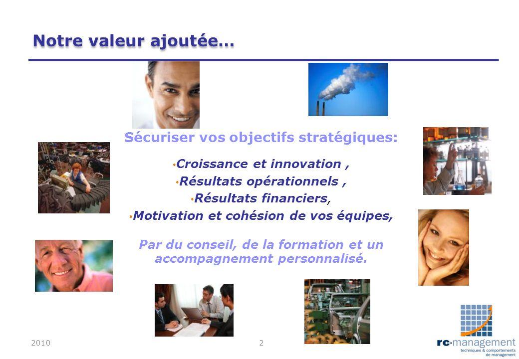 Notre valeur ajoutée… Sécuriser vos objectifs stratégiques: