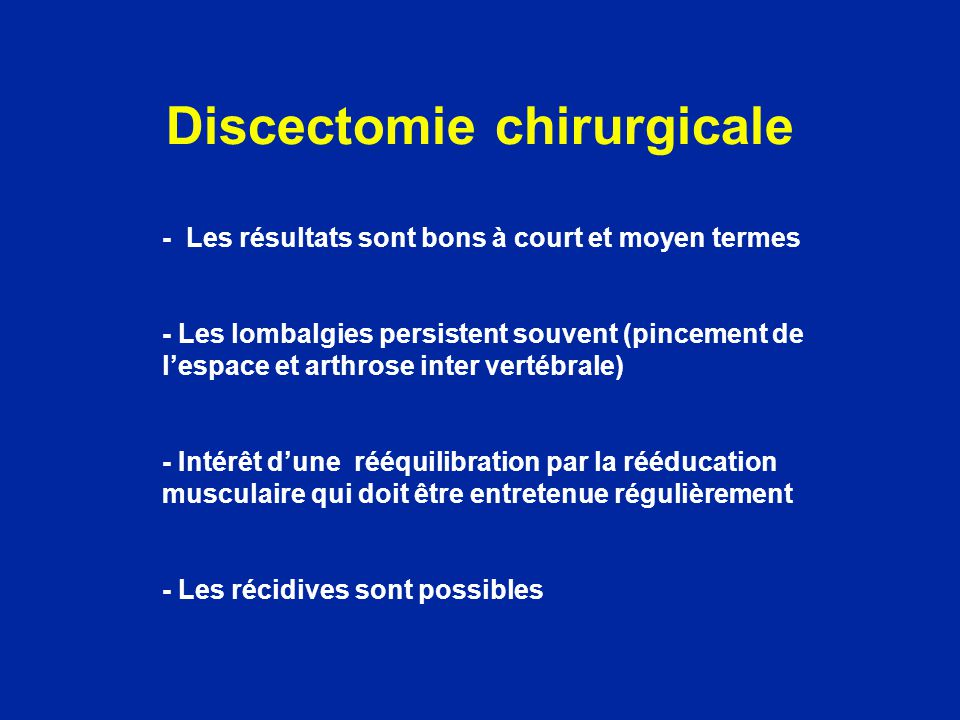 Discectomie chirurgicale