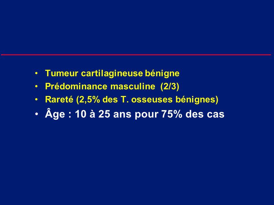 Âge : 10 à 25 ans pour 75% des cas Tumeur cartilagineuse bénigne