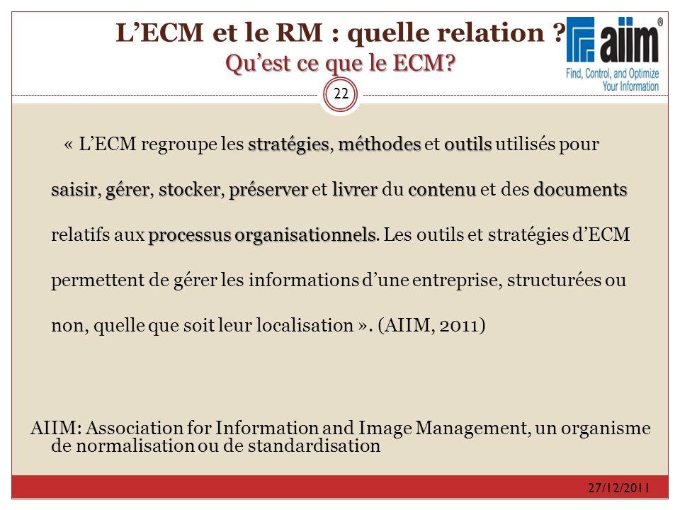 L'ECM et le RM : quelle relation Qu'est ce que le ECM