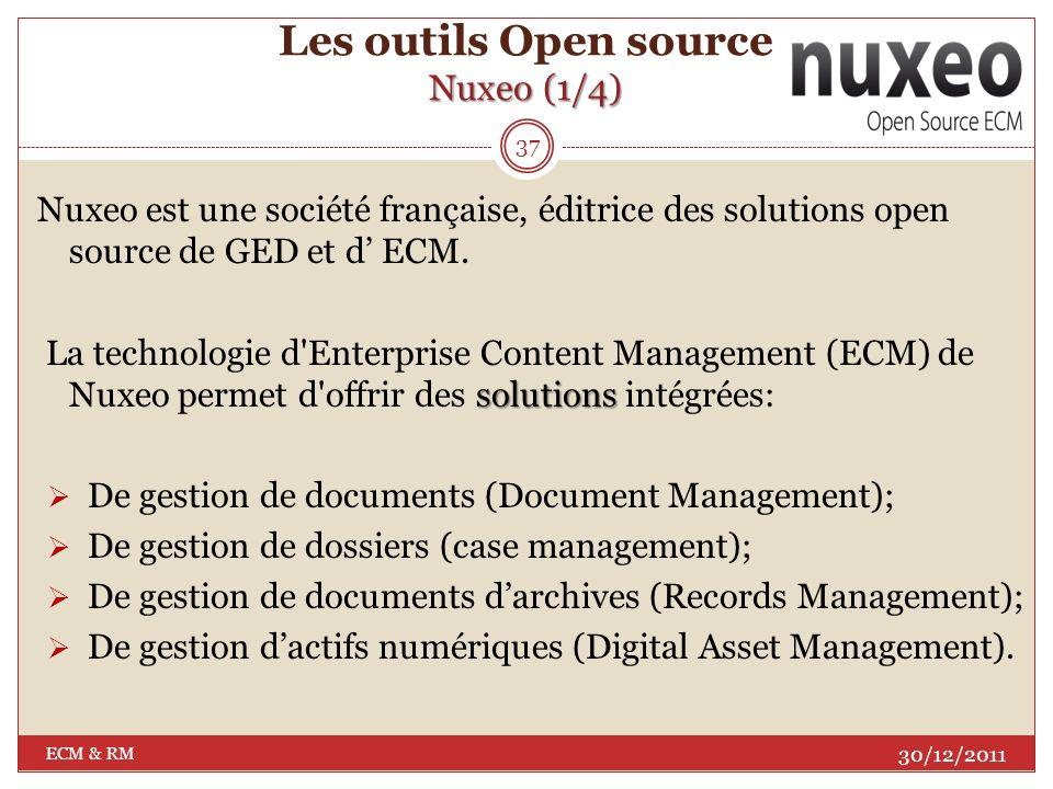 Les outils Open source Nuxeo (1/4)