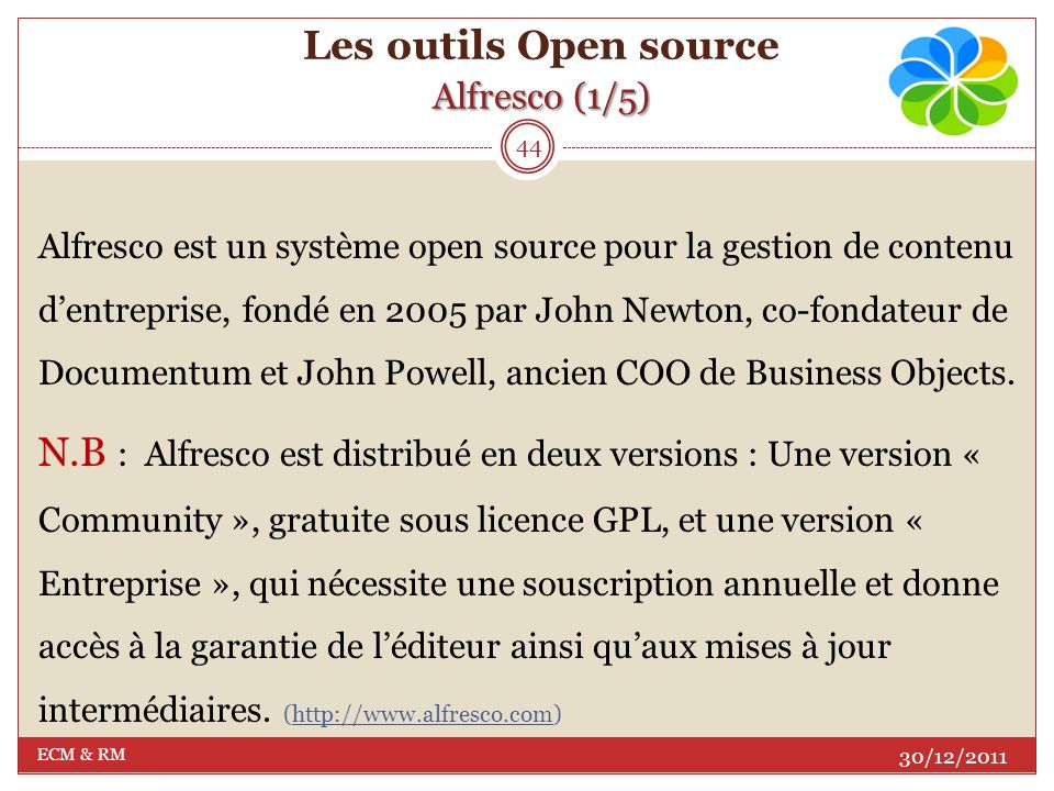 Les outils Open source Alfresco (1/5)