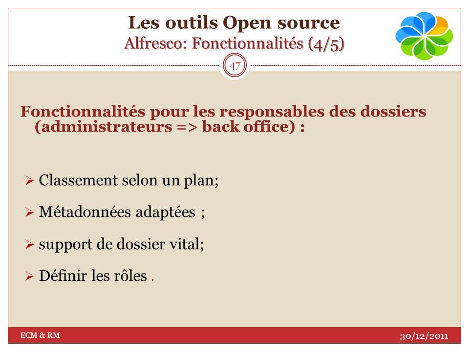 Les outils Open source Alfresco: Fonctionnalités (4/5)