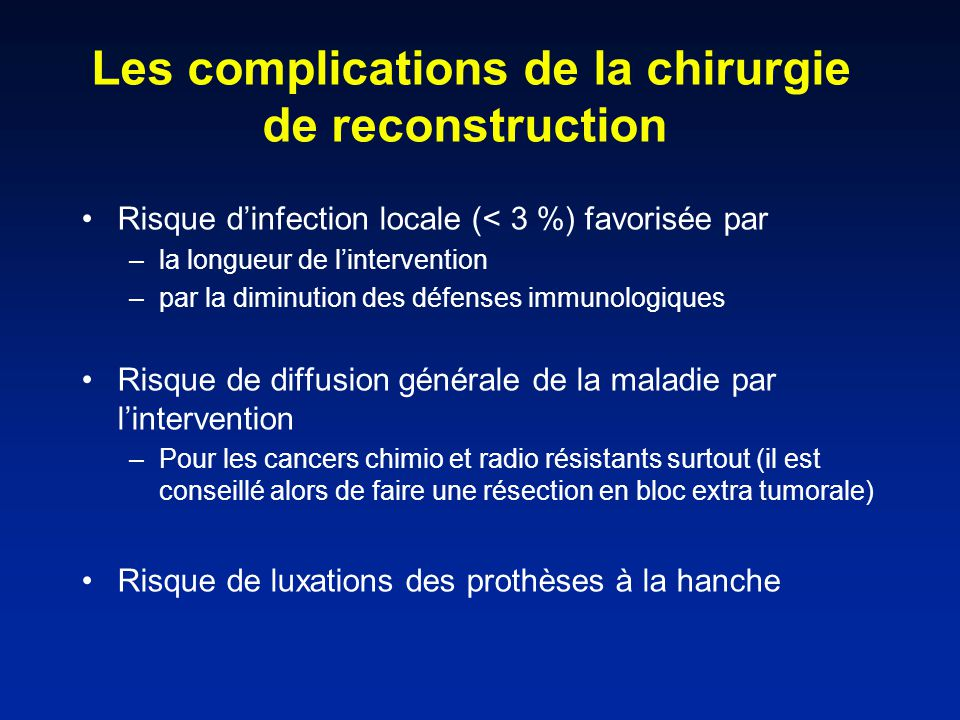 Les complications de la chirurgie de reconstruction