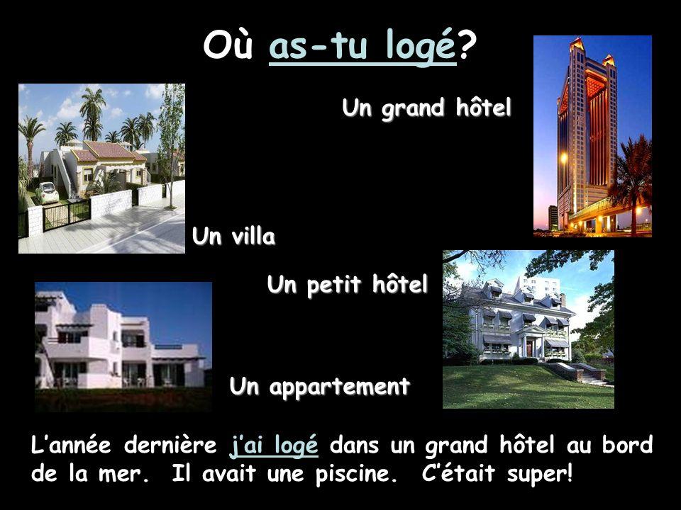 Où as-tu logé Un grand hôtel Un villa Un petit hôtel Un appartement