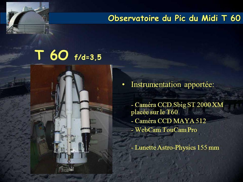 T 6O f/d=3,5 Instrumentation apportée: