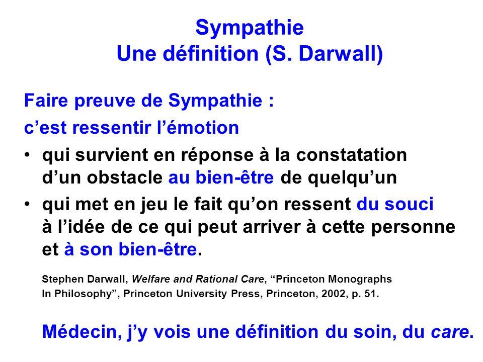 Sympathie Une définition (S. Darwall)