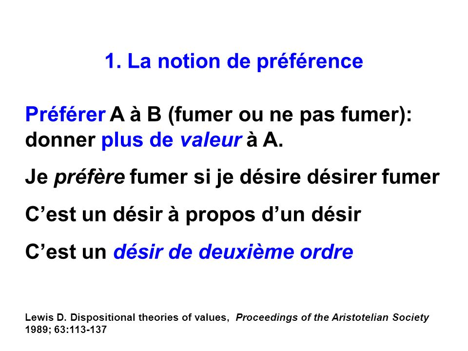 1. La notion de préférence