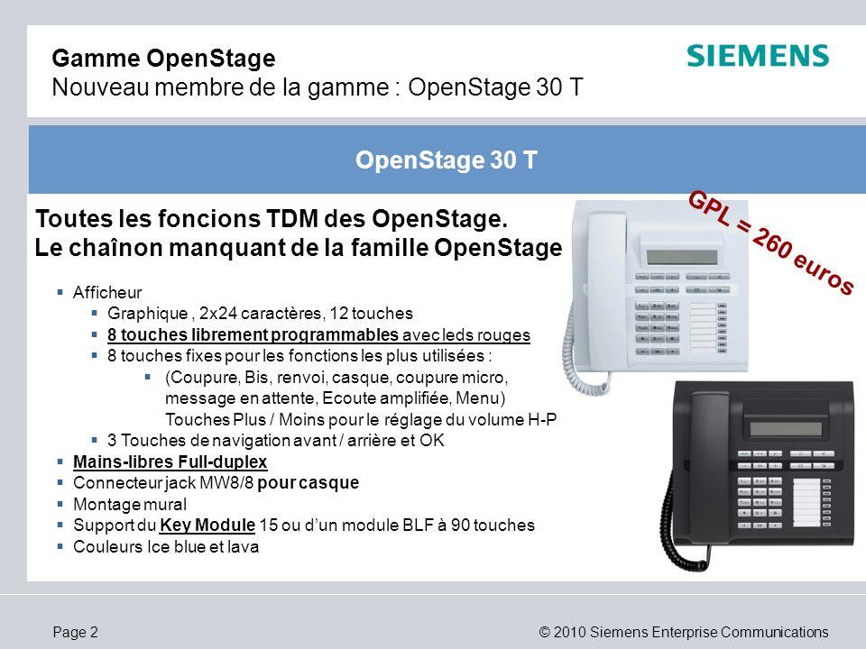 Gamme OpenStage Nouveau membre de la gamme : OpenStage 30 T