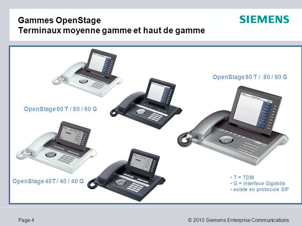 Gammes OpenStage Terminaux moyenne gamme et haut de gamme