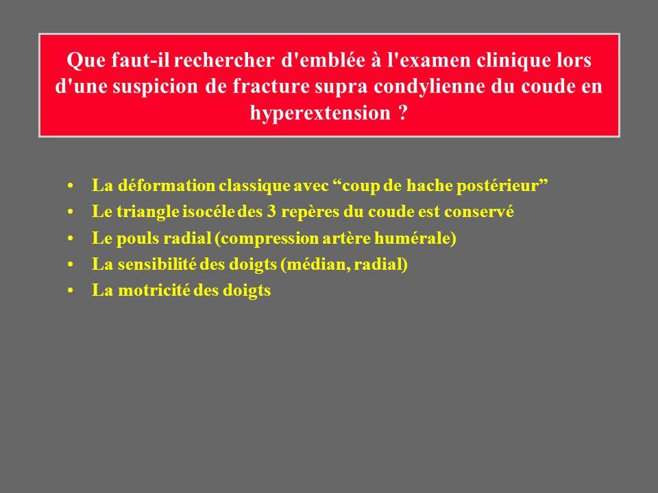 Que faut-il rechercher d emblée à l examen clinique lors d une suspicion de fracture supra condylienne du coude en hyperextension