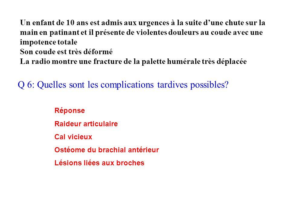 Q 6: Quelles sont les complications tardives possibles