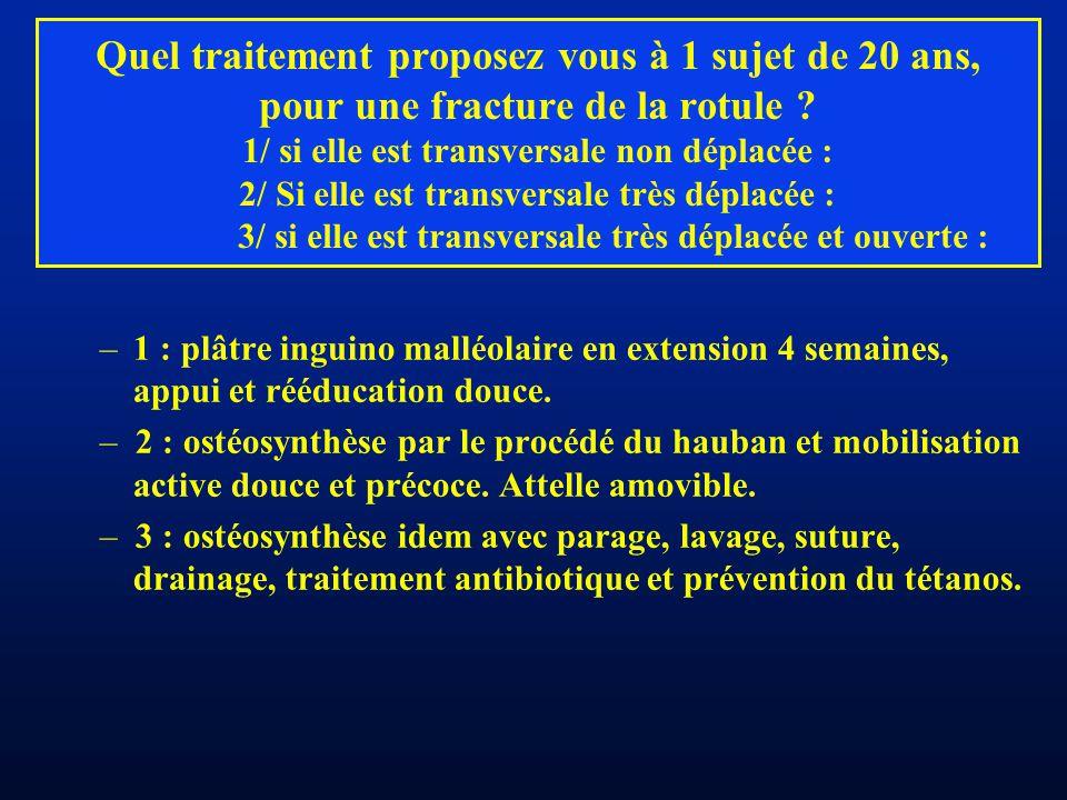 Quel traitement proposez vous à 1 sujet de 20 ans, pour une fracture de la rotule 1/ si elle est transversale non déplacée : 2/ Si elle est transversale très déplacée : 3/ si elle est transversale très déplacée et ouverte :