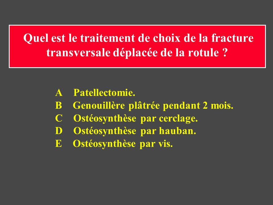 B Genouillère plâtrée pendant 2 mois. C Ostéosynthèse par cerclage.