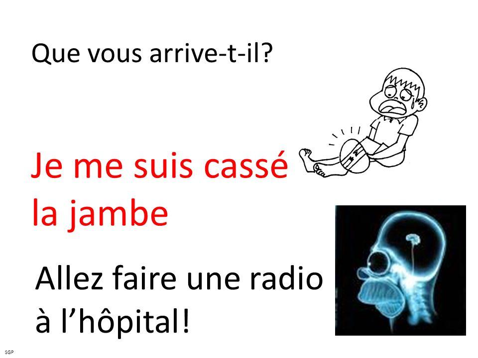 Je me suis cassé la jambe Allez faire une radio à l'hôpital!