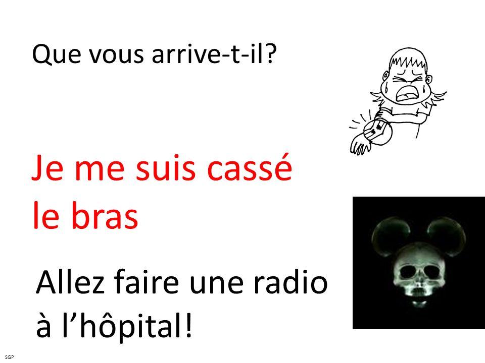 Je me suis cassé le bras Allez faire une radio à l'hôpital!