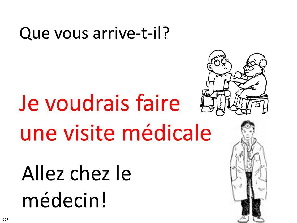 Je voudrais faire une visite médicale Allez chez le médecin!