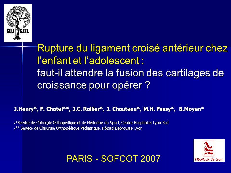 Rupture du ligament croisé antérieur chez l'enfant et l'adolescent : faut-il attendre la fusion des cartilages de croissance pour opérer