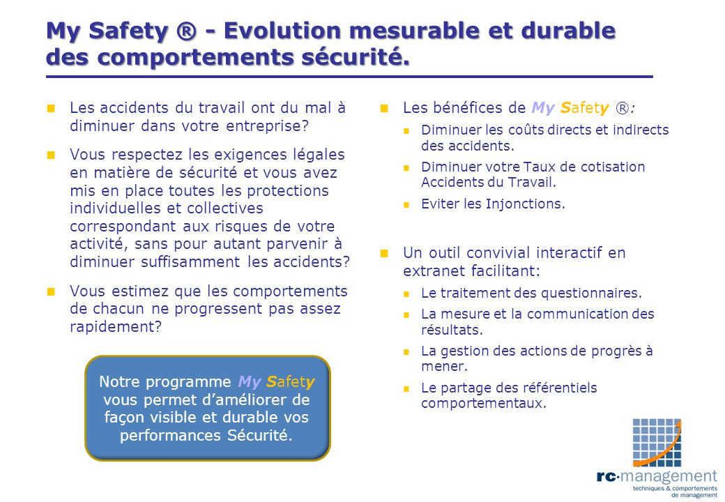 My Safety ® - Evolution mesurable et durable des comportements sécurité.