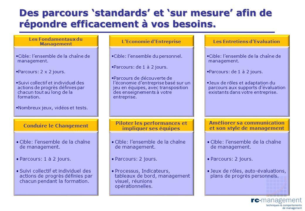 Des parcours 'standards' et 'sur mesure' afin de répondre efficacement à vos besoins.
