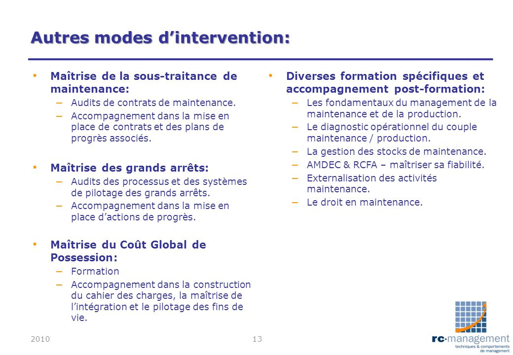Autres modes d'intervention: