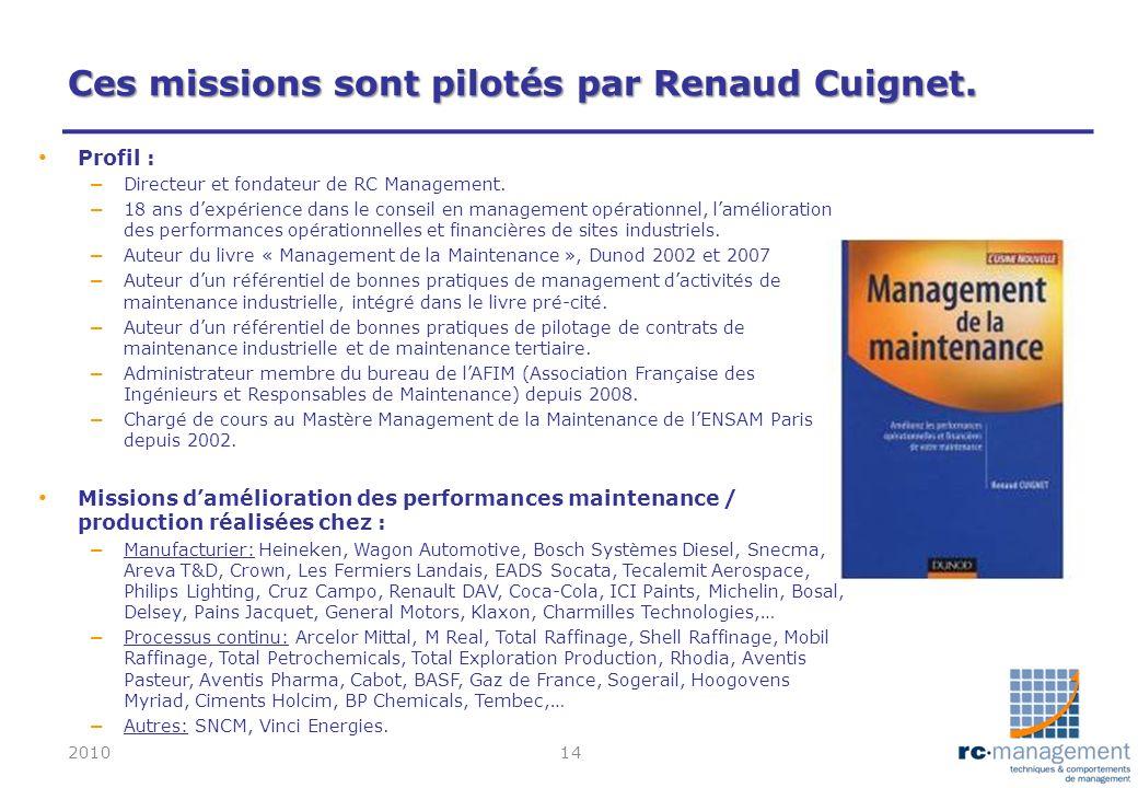 Ces missions sont pilotés par Renaud Cuignet.