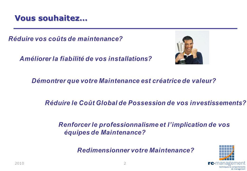 Vous souhaitez… Réduire vos coûts de maintenance