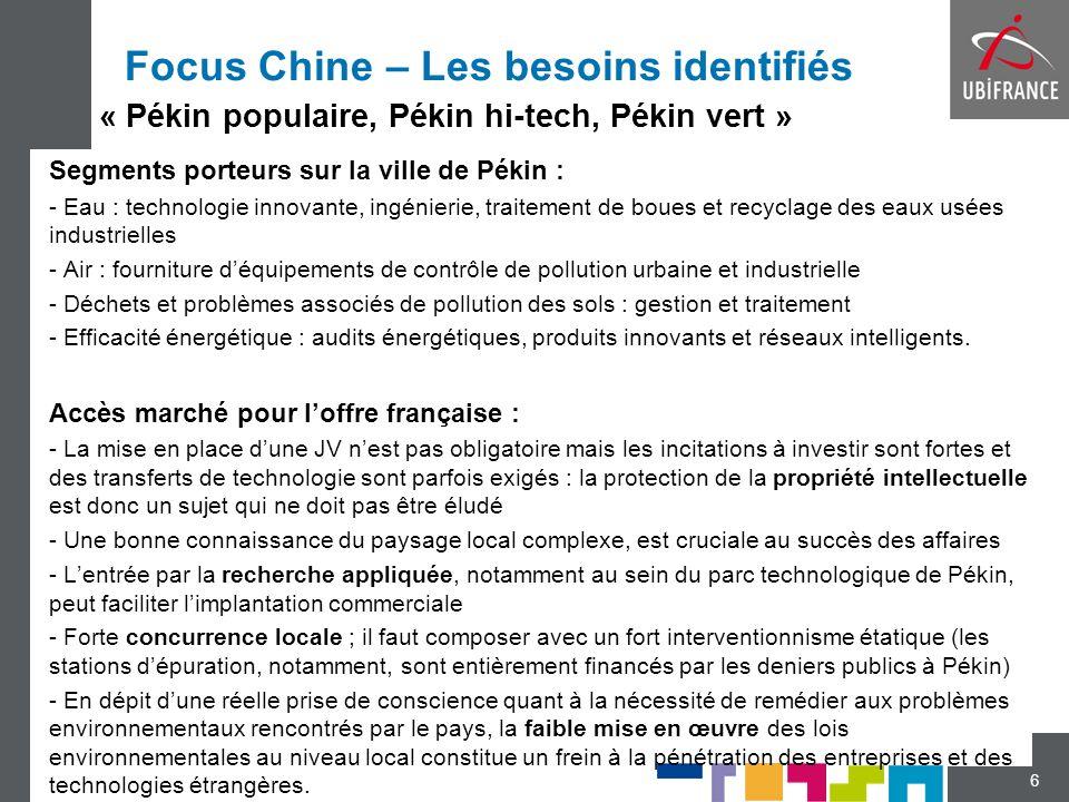 Focus Chine – Les besoins identifiés