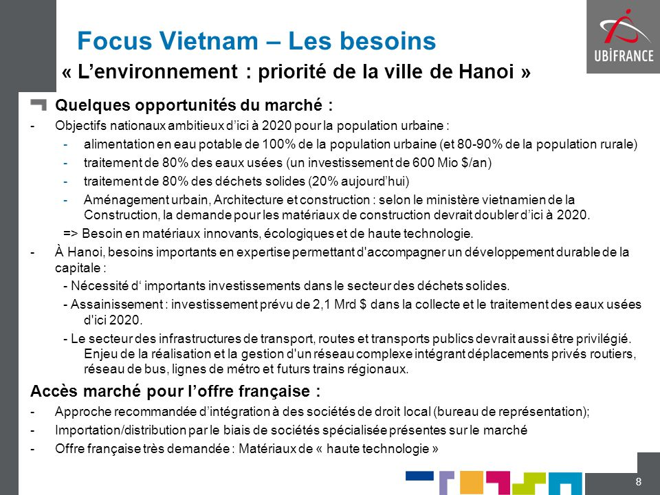 Focus Vietnam – Les besoins