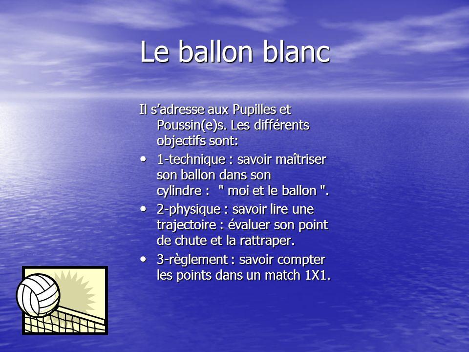 Le ballon blanc Il s'adresse aux Pupilles et Poussin(e)s. Les différents objectifs sont: