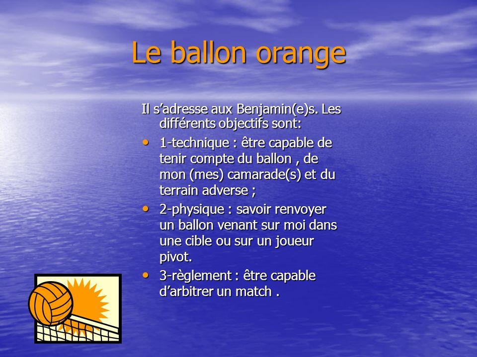 Le ballon orange Il s'adresse aux Benjamin(e)s. Les différents objectifs sont: