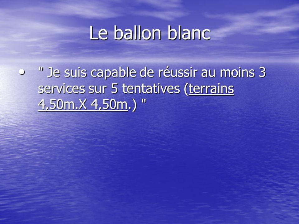 Le ballon blanc Je suis capable de réussir au moins 3 services sur 5 tentatives (terrains 4,50m.X 4,50m.)