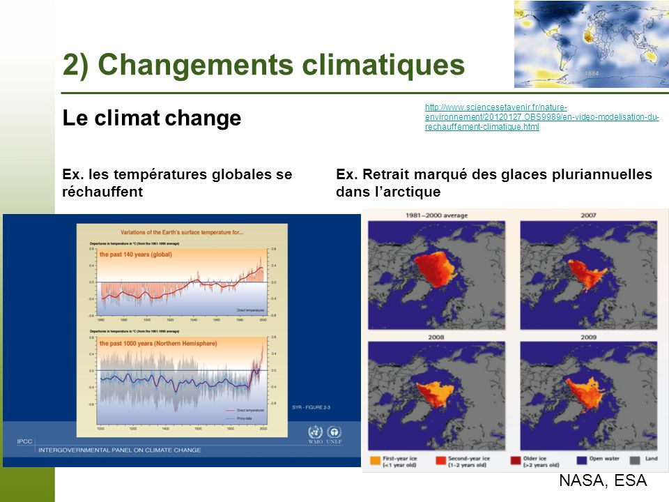 Ex. Retrait marqué des glaces pluriannuelles dans l'arctique