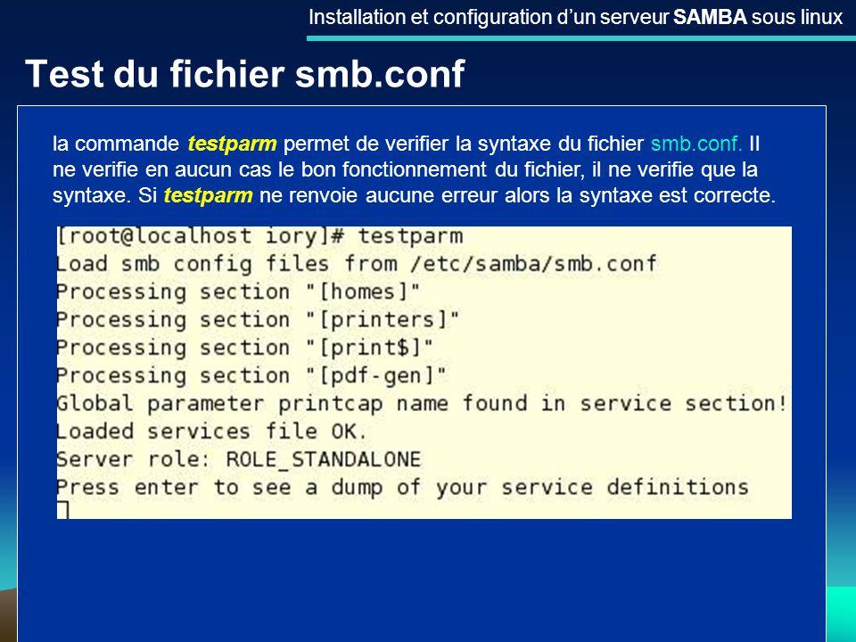 Test du fichier smb.conf