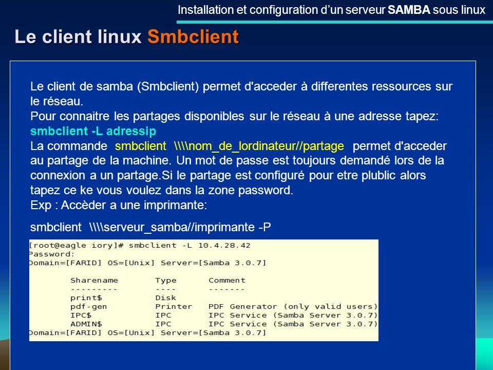 Le client linux Smbclient