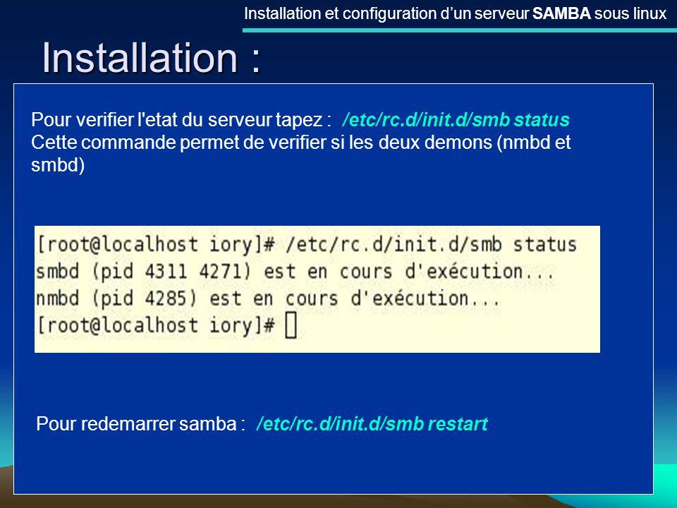 Installation et configuration d'un serveur SAMBA sous linux