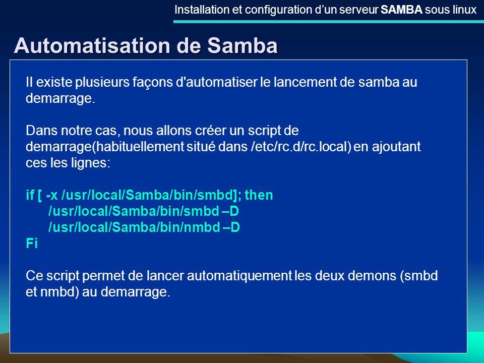 Automatisation de Samba