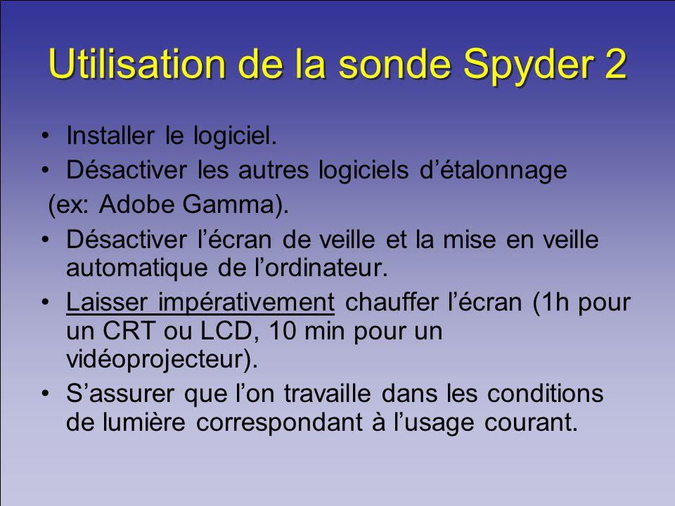 Utilisation de la sonde Spyder 2