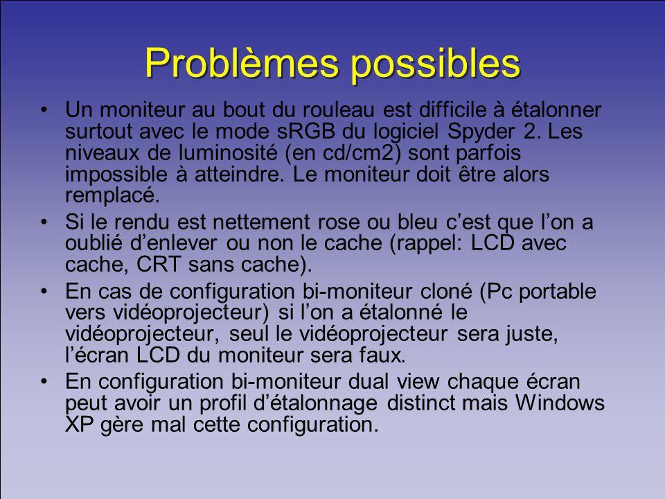 Problèmes possibles