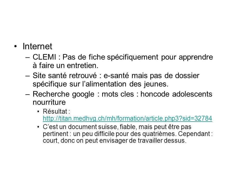 Internet CLEMI : Pas de fiche spécifiquement pour apprendre à faire un entretien.